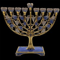 1054- Menorah, jeweled, 6.5""