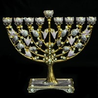 1055- Menorah, jeweled, 6.5""
