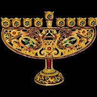 1086- Menorah, jeweled, 6.75""