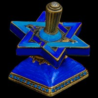 1108- Star David Dreidel, jeweled