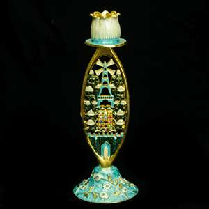 "1133- Candlestick, jeweled, 7.5"" SINGLE"