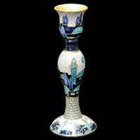 "1134- Candlestick, jeweled, 6"" SINGLE"