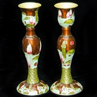 "1141- Candlesticks, jeweled, 6"" PAIR"