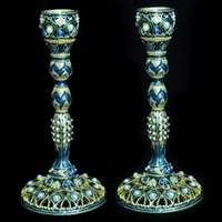 "1155-PR- Candlesticks, jeweled,7"" Pair"