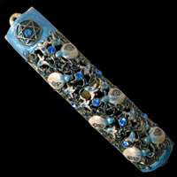 1238- Mezuzah Case, jeweled, medium