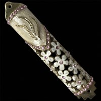 1246- Mezuzah Case, jeweled, small