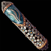1247- Mezuzah Case, jeweled, small