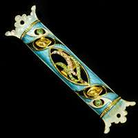 1266- Mezuzah Case, jeweled, small