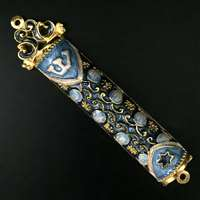 1280-B- Mezuzah Case, jeweled, medium