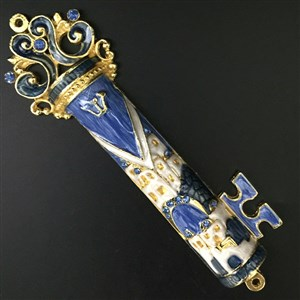 1284- Mezuzah Case, jeweled, medium