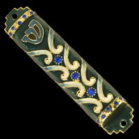 1300- Mezuzah Case, jeweled, small