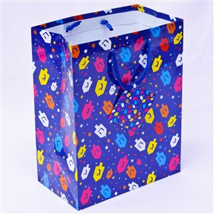 0866-C- Hanukkah Gift Bag -Colorful Dreidels
