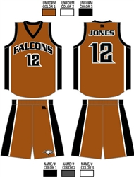 Custom Sublimated Basketball Uniform<br>Includes up to 6 custom colors on one uniform, team name, numbers, short logo, and player name!