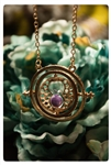 Golden Hourglass Necklace With Purple Sand
