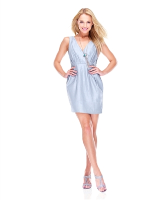 Mari Ice Blue V-Neck Dress