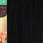 Clip and Go 1 High Heat Fiber Clip In Hair Extensions 18 Inches Black