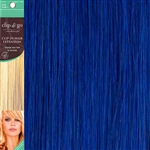 Clip and Go 1 High Heat Fiber Clip In Hair Extensions 18 Inches Royal Blue