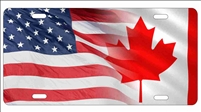 American flag and Canadian flag personalized novelty front license plate decorative vanity car tag