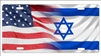 American flag and Israeli flag personalized novelty front license plate decorative vanity car tag