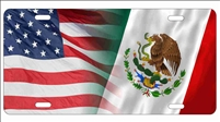 American flag and Mexico flag personalized novelty front license plate decorative vanity car tag