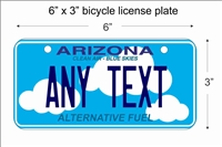 Arizona Alternative Fuel Mini License Plate for Bicycles, Bikes, Wheelchairs, Golf Carts personalized with your design custom vanity Decorative plate