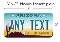 Arizona state Mini License Plate for Bicycles, Bikes, Wheelchairs, Golf Carts personalized for you. can also be used as a door sign.