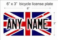 British Flag Mini License Plate for Bicycles, Bikes, Wheelchairs, Golf Carts personalized for you. can also be used as a door sign.