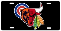 Chicago Sport Teams Combined Logo Novelty Front License Plate Decorative Car Tag Custom License Plates, Personalized License Plates, Decorative License Plates, Front License Plates, Car Tags, airbrush