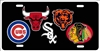 Chicago Sport Teams Logos Novelty Front License Plate Decorative Car Tag