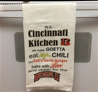 Cincinnati Kitchen Flour Sack Kitchen Towel great as a Holiday, Christmas, Hanukkah, Housewarming or Wedding Gift