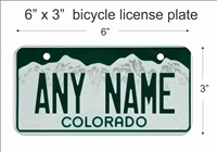Colorado state Mini License Plate for Bicycles, Bikes, Wheelchairs, Golf Carts personalized for you. can also be used as a door sign.