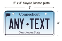 Connecticut state Mini License Plate for Bicycles, Bikes, Wheelchairs, Golf Carts personalized for you. can also be used as a door sign.
