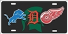 Detroit Michigan State sport teams combined logo license plate Custom License Plates, Personalized License Plates, Decorative License Plates, Front License Plates, Car Tags, airbrush