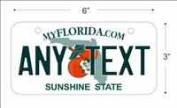 Florida state Mini License Plate for Bicycles, Bikes, Wheelchairs, Golf Carts personalized for you. can also be used as a door sign.