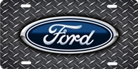 Ford logo on diamond plate personalized novelty front license plate (NOT 3D) Decorative Vanity car tag