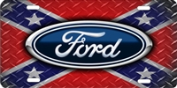 Ford logo on diamond plate Rebel Flag personalized novelty front license plate (NOT 3D) Decorative Vanity car tag