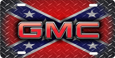 GMC on diamond plate rebel flag personalized novelty front license plate decorative vanity car tag