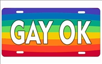 Gay OK rainbow front license plate Decorative Vanity Car Tag