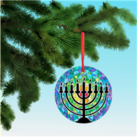 Hanukiah 9 candles Menorah on stained glass, printed on light aluminum Hanukkah Ornament Christmas decoration