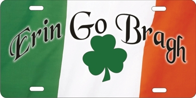 Ireland Flag with Shamrock Erin Go Bragh custom car tag