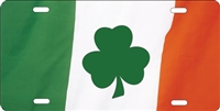 Ireland Flag with Shamrock custom car tag