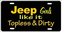 Jeep Girls like it Topless & Dirty yellow License Plates, Personalized License Plates, Decorative License Plates, Front License Plates, Car Tags, airbrush