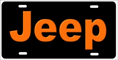Orange Jeep Custom License Plates, Personalized License Plates, Decorative License Plates, Front License Plates, Car Tags, airbrush
