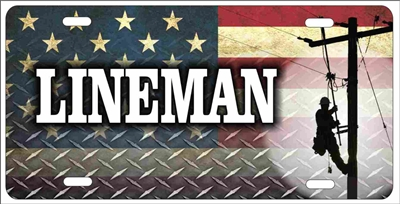 A Proud Lineman on American Flag personalized novelty front license plate Decorative car tag
