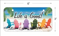 Life is Good Mini License Plate for Bicycles, Bikes, Wheelchairs, Golf Carts personalized with your design custom vanity Decorative plate