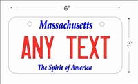 Massachusetts state Mini License Plate for Bicycles, Bikes, Wheelchairs, Golf Carts personalized for you. can also be used as a door sign.