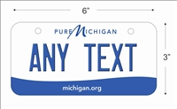 Michigan state Mini License Plate for Bicycles, Bikes, Wheelchairs, Golf Carts personalized for you. can also be used as a door sign.