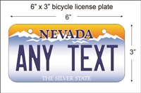 Nevada state Mini License Plate for Bicycles, Bikes, Wheelchairs, Golf Carts personalized for you. can also be used as a door sign.