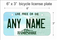 New Hampshire state Mini License Plate for Bicycles, Bikes, Wheelchairs, Golf Carts personalized for you. can also be used as a door sign.