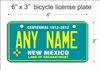New Mexico state Mini License Plate for Bicycles, Bikes, Wheelchairs, Golf Carts personalized for you. can also be used as a door sign.